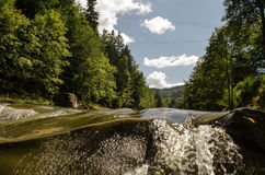 Mountain river. The river flows in mountains Carpathians Royalty Free Stock Photo