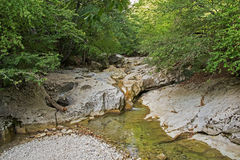 Mountain river in forest and mountain terrain. Crimea. Stock Photo