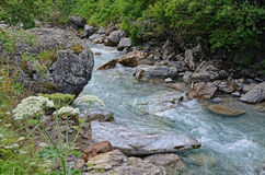 Mountain river Gave de Pau in the Pyrenees. Mountain stream runs on the rocks with transparent cascades and white shining whirlpools. This is a source of river stock images