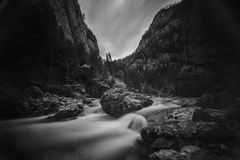 Mountain river in the gorge. Royalty Free Stock Image
