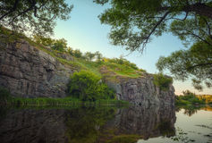 Mountain river Gornij Tikich with cliffs and trees Stock Images