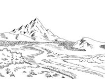 Mountain river graphic black white landscape sketch illustration Royalty Free Stock Photography