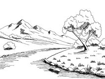Mountain river graphic black white landscape sketch illustration Stock Images