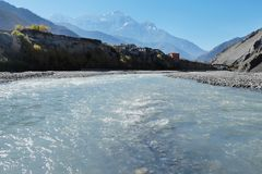 Mountain river in the Himalayas stock photo
