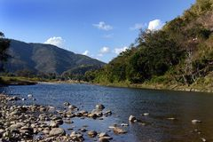 Mountain River. A horizontal view of the mountain river at Arunachal Pradesh Royalty Free Stock Image
