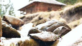 Mountain river house. Waterfall that is river in mountain stock footage