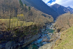 Mountain River In The Verzasca Valley, Lavertezzo, Switzerland Royalty Free Stock Photography