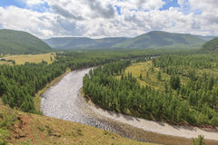 The mountain river Irkut in East Sayan mountains. Stock Photo