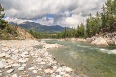 The mountain river Irkut in East Sayan mountains. Stock Photos