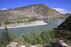 Mountain river Katun along Chuysky Trakt Royalty Free Stock Image