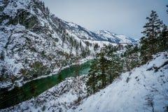Mountain river Katun, Altai, Russia. A winter scenic. Stock Photos