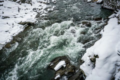 Mountain river Katun, Altai, Russia. A winter scenic. Royalty Free Stock Images