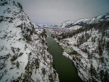 Mountain river Katun, Altai, Russia. A winter scenic. Royalty Free Stock Photos