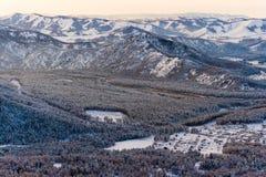 Mountain river Katun, Altai, Russia. A winter scenic. Royalty Free Stock Image