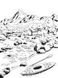 Mountain river kayak boat graphic art black white landscape illustration Stock Images