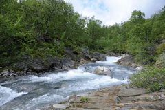Mountain river in kiruna wilderness Stock Photography