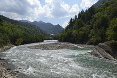 Mountain river Laba in the Caucasus Stock Photo