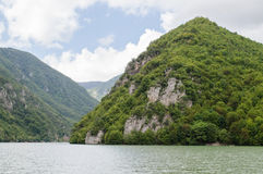 Mountain and river. Mountain landscape and river Drina stock photos