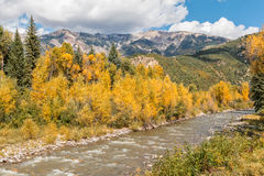 Mountain River Landscape in Fall Stock Photos