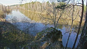 Mountain river landscape siberia, Ural, Russia. Landscape of Rocky shore of a mountain river Chusovaya, Ural, Russia, slider, 4k stock footage