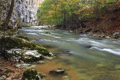 Mountain river in late Autumn Stock Photo
