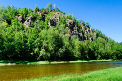 Mountain River Lemeza in the southern Urals. Royalty Free Stock Photo