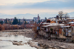 Mountain river and little old city Kutaisi Royalty Free Stock Photo