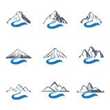 Mountain River Logo Set, Vector Icon Illustration. Stock Photos