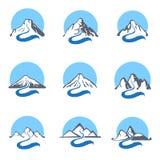 Mountain river logo set, vector icon illustration. Stock Images