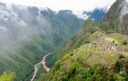 Mountain, river, Machu Picchu, Peru, 02/08/2019 royalty free stock photos