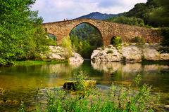 Mountain river with medieval  bridge in  Pyrenees Royalty Free Stock Photo