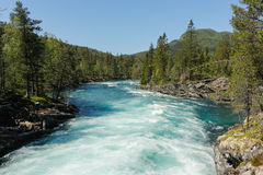 Mountain river. Melting snow river in mountains, Norway Royalty Free Stock Image