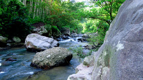 Mountain river in the middle of forest, in Tasikmalaya, West Java, Indonesia Royalty Free Stock Images