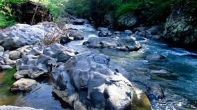 Mountain river in the middle of forest, in Tasikmalaya, West Java, Indonesia Royalty Free Stock Image