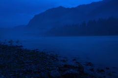 Mountain river mist night exposure Stock Photography