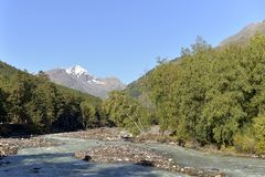 Mountain river in the morning in Kabardino-Balkaria stock photography
