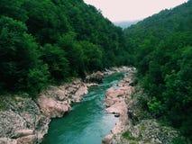 Mountain river. Mountain landscape. Mountain range view from Caucasus. Mountain river. Mountain landscape Stock Photos