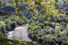 Mountain river in the mountains of Abkhazia. And the view of the village royalty free stock photo