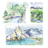 Mountain river forest vegetation - watercolor sketch stock illustration