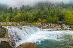 Mountain river near Entreves. (Сourmayeur, Italy Stock Photography