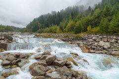Mountain river near Entreves. (Сourmayeur, Italy Royalty Free Stock Photo