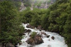 Mountain river near Mardalfossen waterfall, Norway Stock Photos