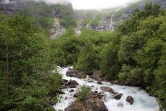 Mountain river near Mardalfossen waterfall, Norway Royalty Free Stock Photo