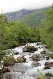 Mountain river near Mardalfossen waterfall, Norway Stock Photo