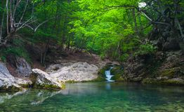 Mountain river with nice waterfall Royalty Free Stock Photography