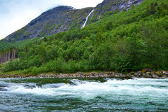 Mountain and river in norway Stock Photography