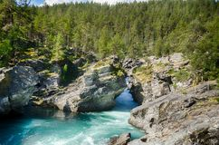 Mountain river in Norway summer trip. River travel in europe mountain vacation tourism Stock Photography