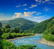 Mountain River On A Clear Summer Day Stock Image
