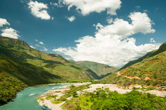 Mountain river by park national chicamocha. View on mountain river by park national chicamocha stock photography