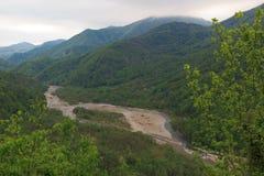 Mountain river Psezyuape. River Psezyuape in the Lazarev district of Sochi, Krasnodar region, Russia Royalty Free Stock Photos